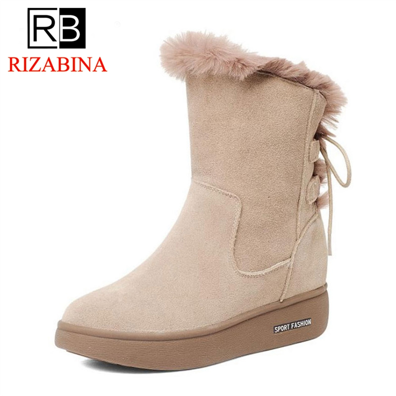 RizaBina Women Real Leather Mid Calf Flats Boots Women Thick Fur Bowtie Boots Warm Shoes Winter Botas Woman Footwears Size 34-40 rizabina cold winter snow shoes women real leather warm fur inside ankle boots women thick platform warm winter botas size 34 39
