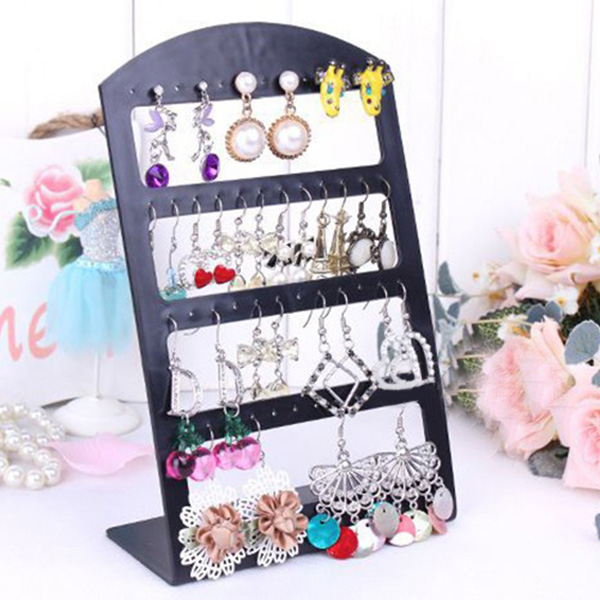 Simple Fashion 4 Layers 24 Pairs Earrings Acylic Display Rack Stand Holder Organizer Jewelry Display Stands Accessories VL