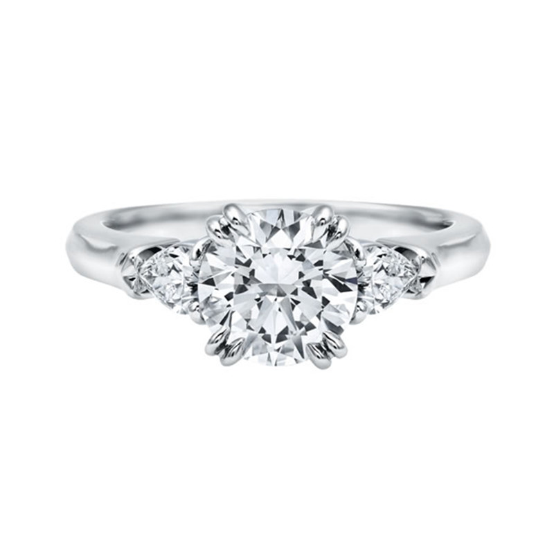 Luxruy 925 Solid Sterling Silver Ring 2 Ct Round Cut Three Stones Ring Band Synthetic Sona