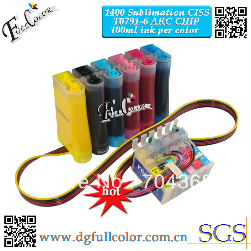 Free shipping High quality CISS with Sublimation ink for Epson photo 1400 CISS Ink System With New Combo ARC Chip