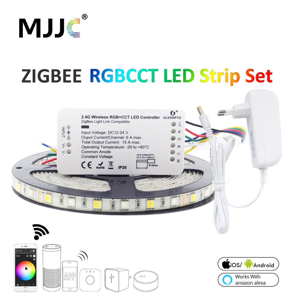 Zigbee LED Light Strip 5M 12V RGBCCT 5050 Zigbee ZLL Link Home Smart LED Strip Waterproof RGB Dual White Work With Alexa Echo