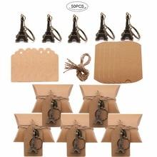 50 recuerdos de bodas de diseño Vintage y caja de caramelos de regalo para invitados + etiquetas + llavero de Torre Eiffel Paris anillos fiesta boda decoración