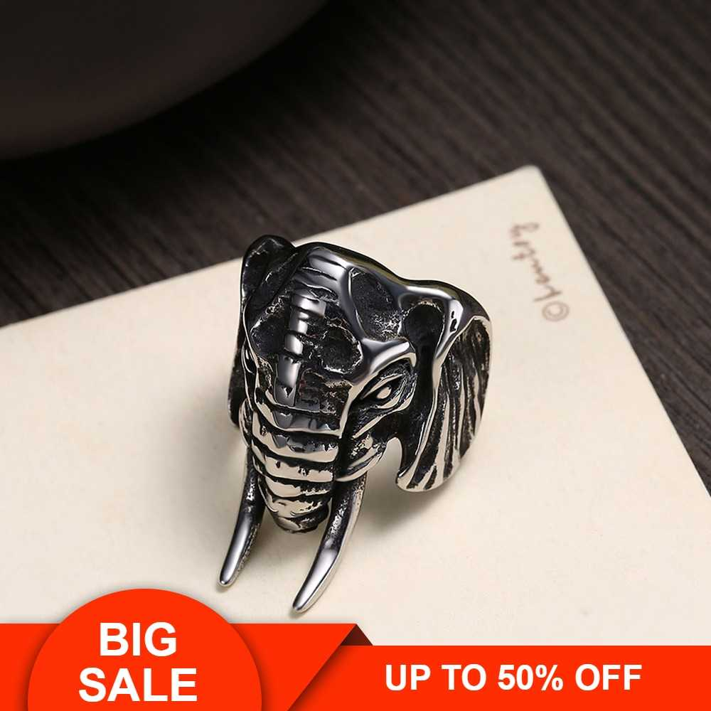 Hemiston Male Ring Stainless Bull Elephant Heads Men Ring Personality Punk Cool High Quality Fashion Jewelry for Party R273