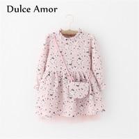 Dulce Amor Flower Girl Dress Baby Girl Clothes 2017 Autumn Long Sleeve Print Plum Blossom Elegant
