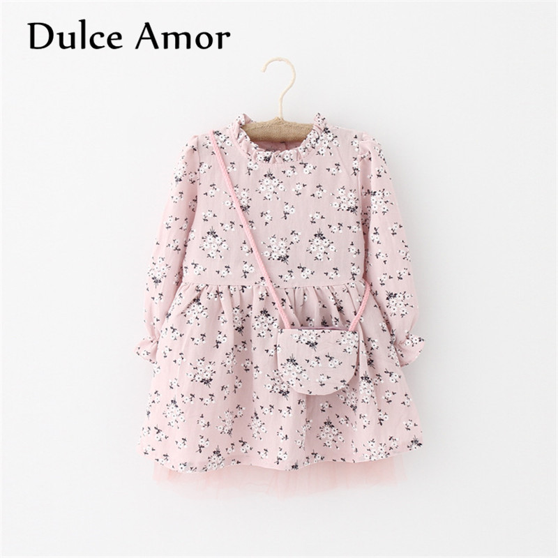 Dulce Amor   Flower     Girl     Dress   Baby   Girl   Clothes 2019 Spring Long Sleeve Print Plum Blossom Elegant Princess   Dress   With Bag