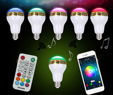 New Wireless Bluetooth Smart RGB LED Light Bulb Music Speaker for android and IOS