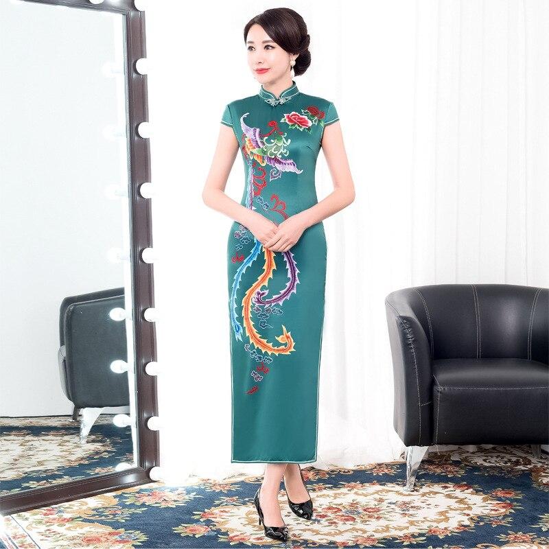 cef8aa6caded Cheap Moda Primavera Verano largo Cheongsam novedad estilo chino Vestido  Mujer rayón Qipao Delgado vestidos de
