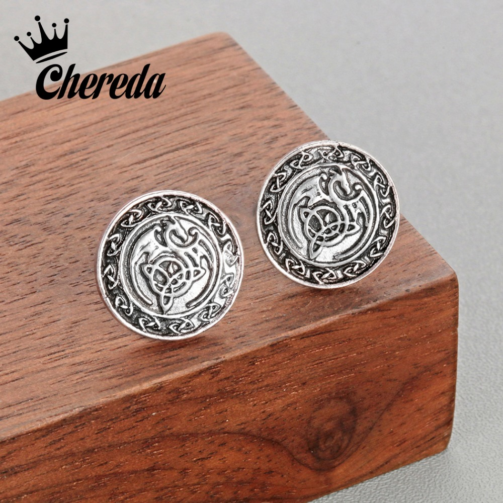 Chereda Antique Round Stud Earring for Men Vintage Ancient Viking Earrings Prevent Allergy Stud Earrings Ethnic Jewelry