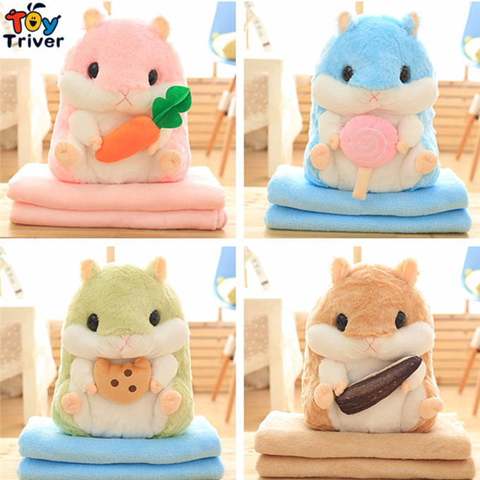 Plush Hamster Portable Blanket Stuffed <font><b>Toy</b></font> Doll Baby Shower Car Air Condition Travel Rug Office Nap Carpet Birthday Gift Triver