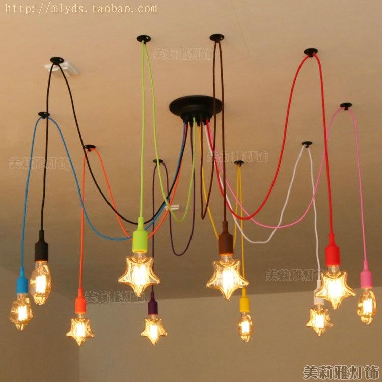 ФОТО Stars-shaped Edison Nordic Vintage Pendant Lamps Lights Fixtures Children Room Loft Style Industrial Lighting Colorful Heads