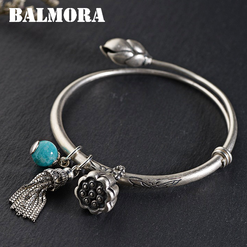 BALMORA 990 Pure Silver Lotus Flower Bangles for Women Mother Lover Gift about 17cm Jewelry Tassel