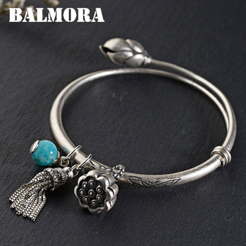 BALMORA 990 Pure Silver Lotus Flower Bangles for Women Mother Lover Gift about 17cm Jewelry Tassel Accessories Esposas WBH0150
