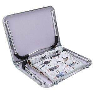 Image 2 - Gấp gọn Bàn Máy Tính Đa Năng Ánh Sáng Để Bàn Gấp Gọn Ký Túc Xá Giường Xách Tay Nhỏ Để Bàn Dã Ngoại Bàn Laptop có hai Khay