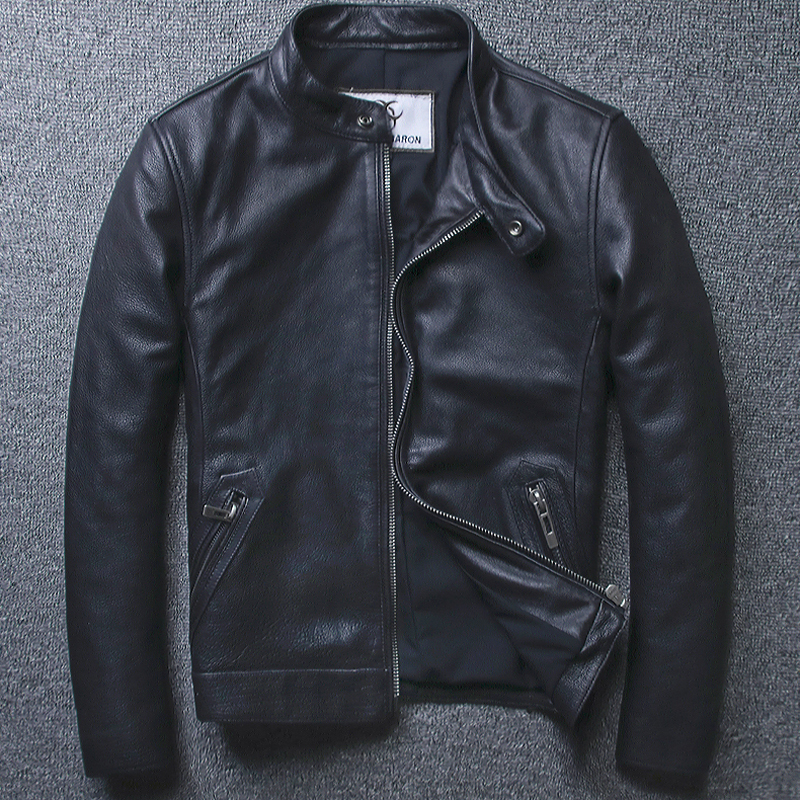 New Style Cowhide Youth Collar Genuine Leather Jackets Motorcycle Suit Leather Suit Black Jacket Men's Casual Wear