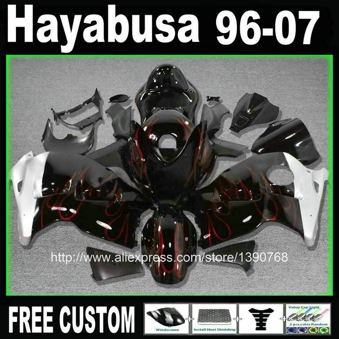 Carene ABS kit carenatura in plastica + serbatoio per SUZUKI hayabusa GSXR1300 99-07 red flames in nero personalizzato set 1996-2007 CQ25