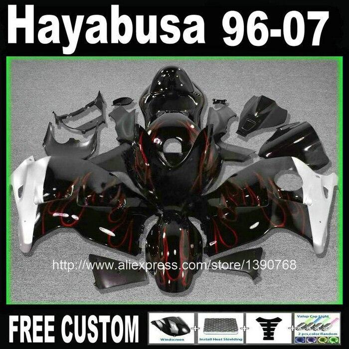 Plastique ABS carénage kit + réservoir pour SUZUKI hayabusa carénages GSXR1300 99-07 flammes rouges en noir ensemble personnalisé 1996-2007 CQ25