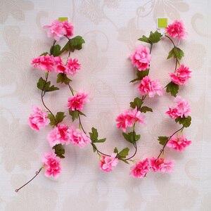 Image 2 - 230cm Silk Sakura Kirschblüte Reben Lvy Hochzeit Arch Dekoration Layout Home Party Rattan Wandbehang Garland Kranz Slingers