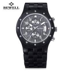 Роскошные Для мужчин деревянные кварцевые часы Bewell Японии Movt трех рабочих суб-циферблат Дата Дисплей наручные часы Многофункциональный