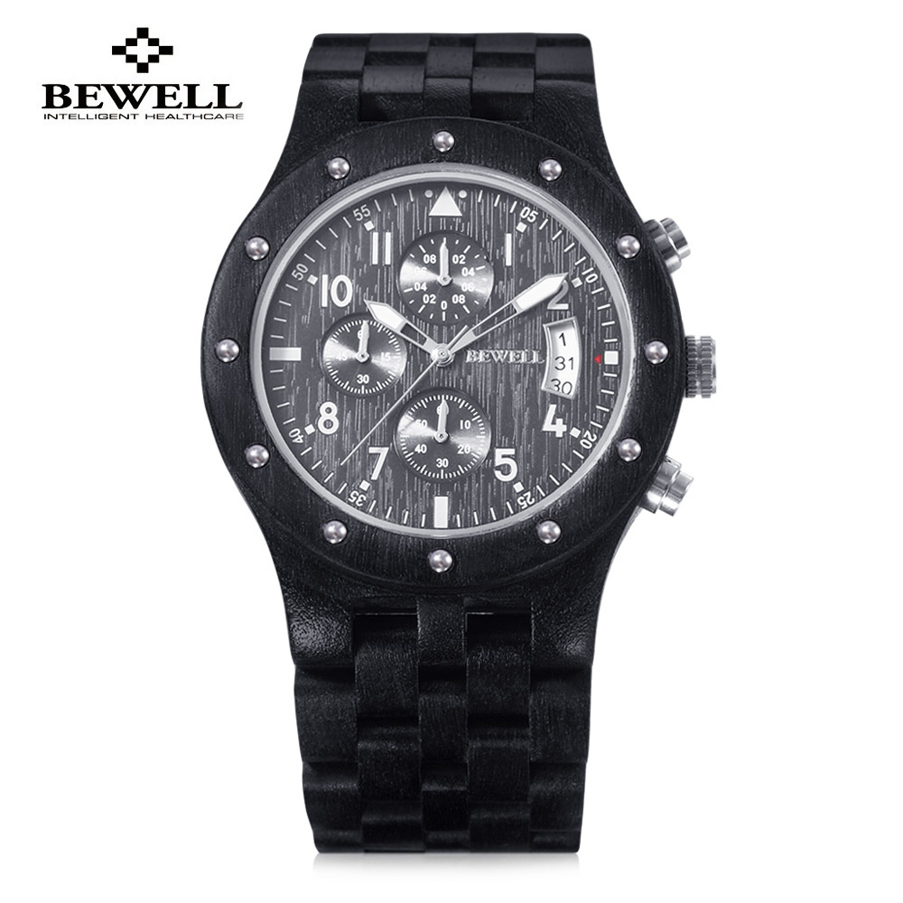 Luxury Men Wooden Quartz Watch BEWELL Japan Movt Three Working Sub-dial Date Display Wristwatch Multi-function Relogio Masculino цена