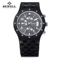 Luxury Men Wooden Quartz Watch BEWELL Japan Movt Three Working Sub Dial Date Display Wristwatch Multi