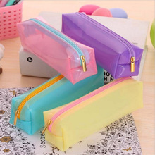 Cute Kawaii Transparent Jelly Glue Pencil Bag Lovely Candy Color Pencil Box For Kids School Supplies