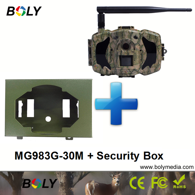 MG983G and security box 30MP wireless cameras GPRS MMS cellular 3G hunting cameras invisible IR 100 ft. black IR foto trappola