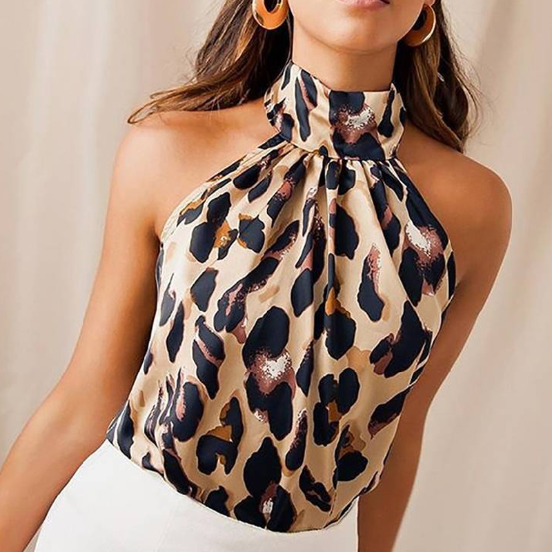 Summer Women Blouse Shirt 2019 Sexy Leopard Print Ladies Halter Blouses Female Sleeveless Plus Size Womens Tops And Blouses 4XL