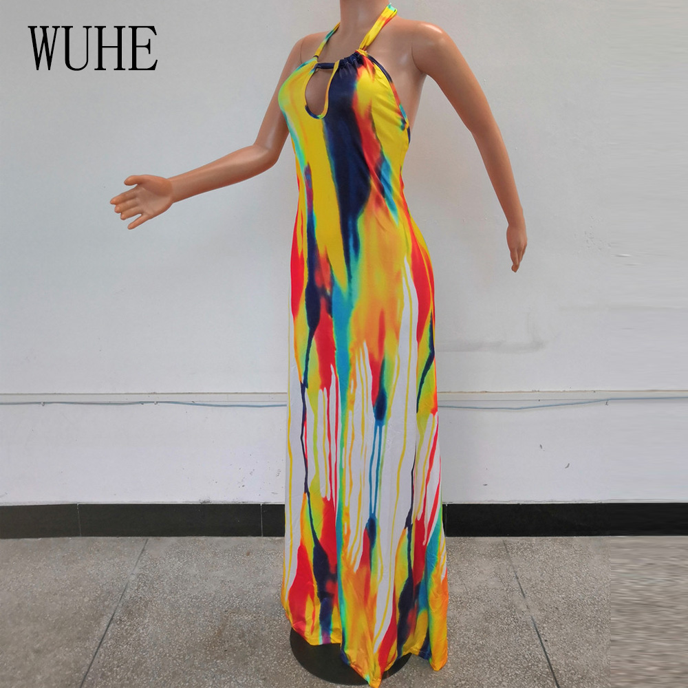 WUHE Summer Women 39 s Contrast Color Sexy Open Back Halter Maxi Dress Female Personality Casual Sleeveless Long Loose Beach Dress in Dresses from Women 39 s Clothing