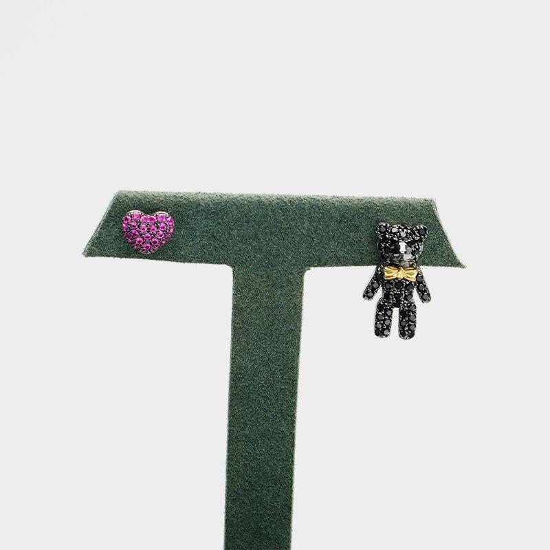 Local focal 925 silver cute Little Bear pink heart Stud Earrings
