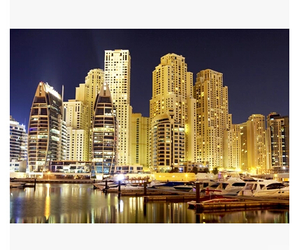 Dubai Hotel Windsurf City Night View Large Mural Wallpaper Study