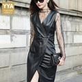 Sexy Kant V-hals 100% Real Leather Dress Vrouwen Chic Onregelmatige Split Mouwloze Jurk Vrouwelijke Streetwear Kantoor EEN Woord Vestidos