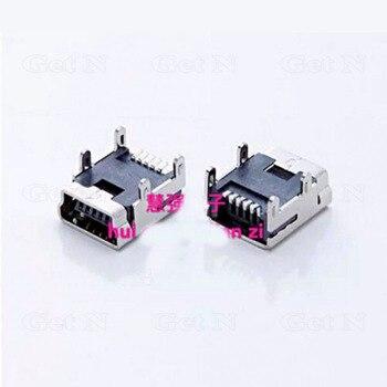 1000pcs/lot 5-pin Copper Mini USB Receptacle Socket Jack Flat Angle with 4 Locating Pins