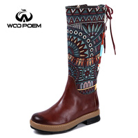 WooPoem New Winter Shoes Woman Cow Leather Boots Mid Calf Med Heel Boots Retro Embroider Women Boots Bohemia Charm Boots 7867