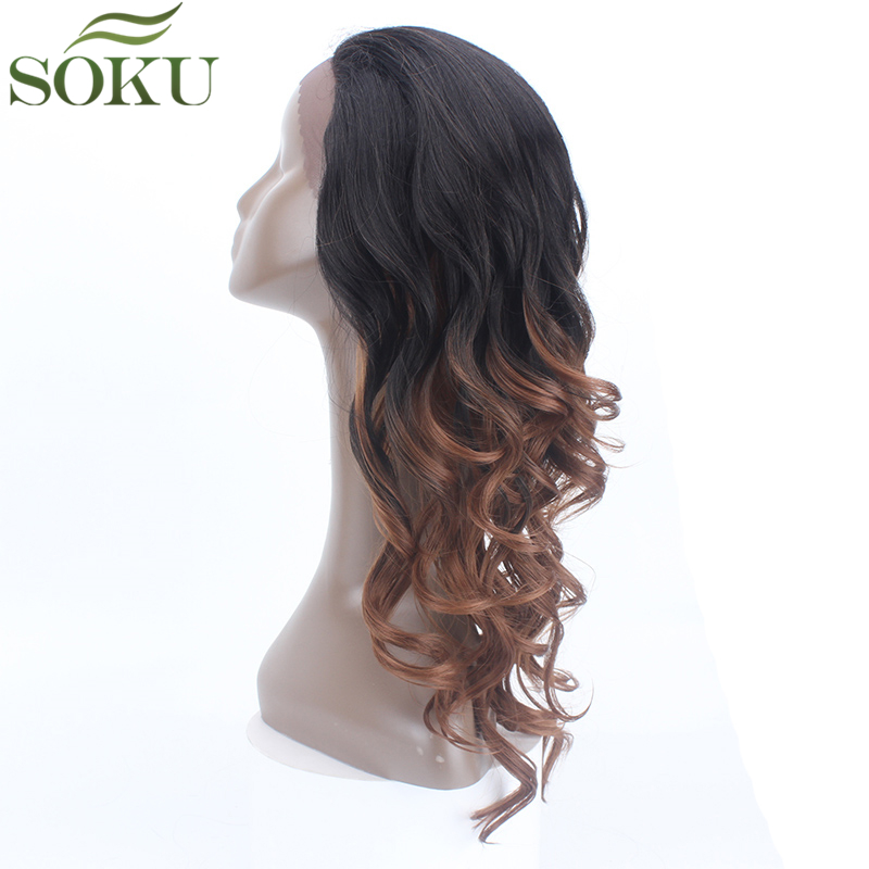 SOKU Wigs Lace-Wig Baby-Hair Curly Synthetic Black-Women Fiber Heat-Resistant Glueless