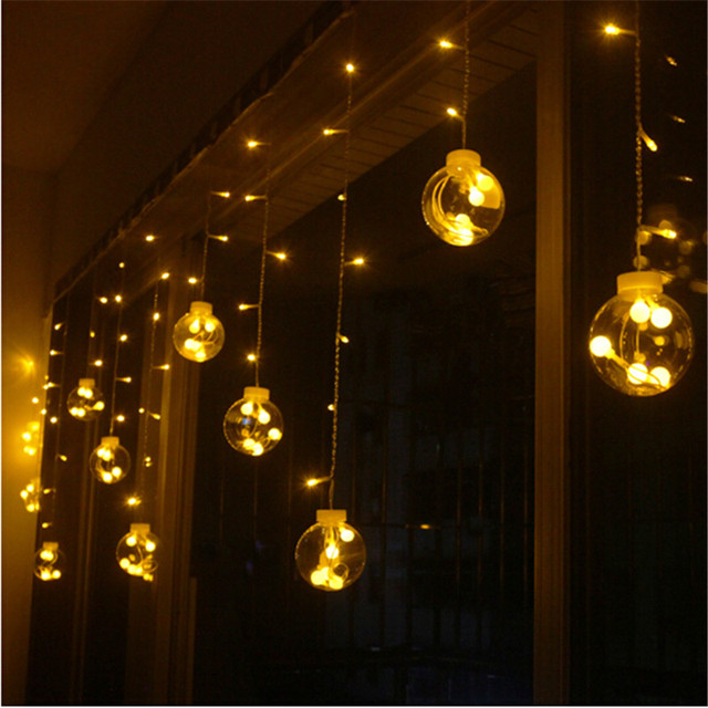 Wedding Decoration Curtain Led Ball Light Plastic Globe Starry String Fairy Lights Transpa Christmas Lamps Ac 220v H 31