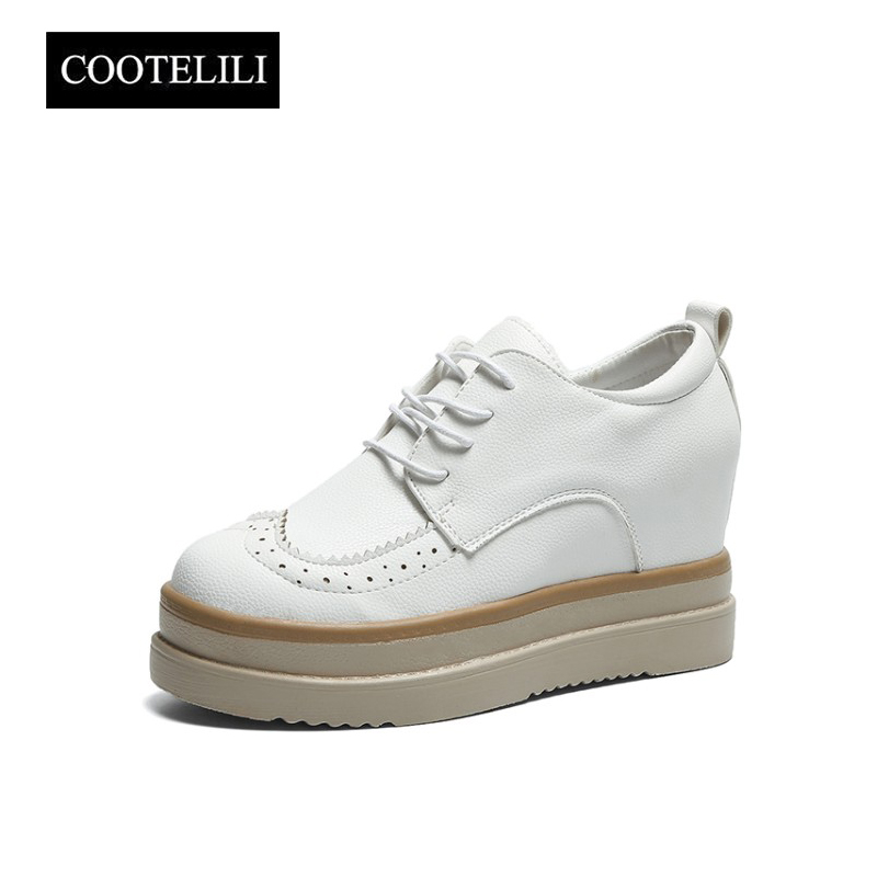 COOTELILI Autumn Brogue Casual Flats Women Wedges Shoes Woman Platforms Soft Leather Round Toe Inside Increased Lace-Up Oxfords qmn women brushed leather platform brogue shoes women round toe lace up oxfords flat casual shoes woman genuine leather flats