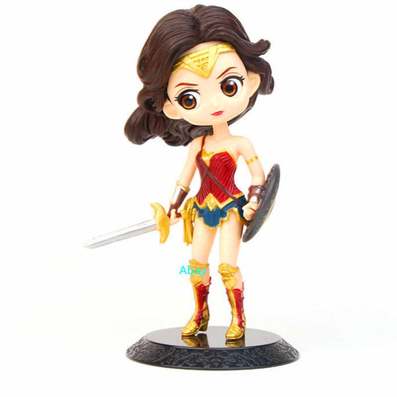 """4 """"Justice League Diana Príncipe de Super-heróis Mulher Maravilha Q Versão PVC Action Figure Collectible Modelo Toy do Presente de Aniversário DO OPP c18"""
