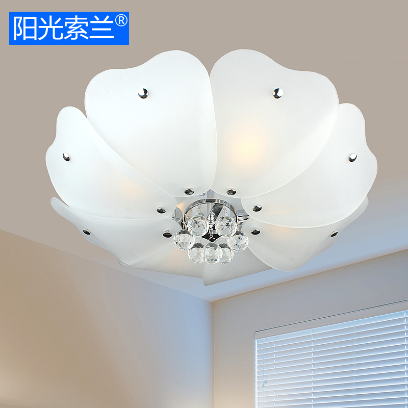 Modern Crystal ceiling lamp for bedroom living room study galss blossom E27 AC 90V-260V crystal flower shade ceiling light noosion modern led ceiling lamp for bedroom room black and white color with crystal plafon techo iluminacion lustre de plafond