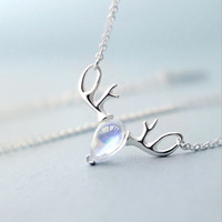 S925 sterling silver necklace female pendant simple antler necklace clavicle chain jewelry PDL09