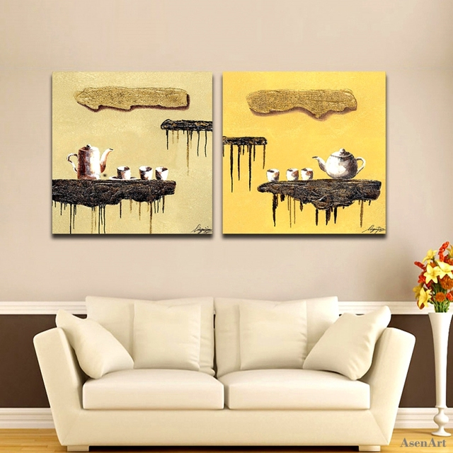 2 Pieces Wall Art Hand Painted Abstract Coffee Cup Oil Painting on ...