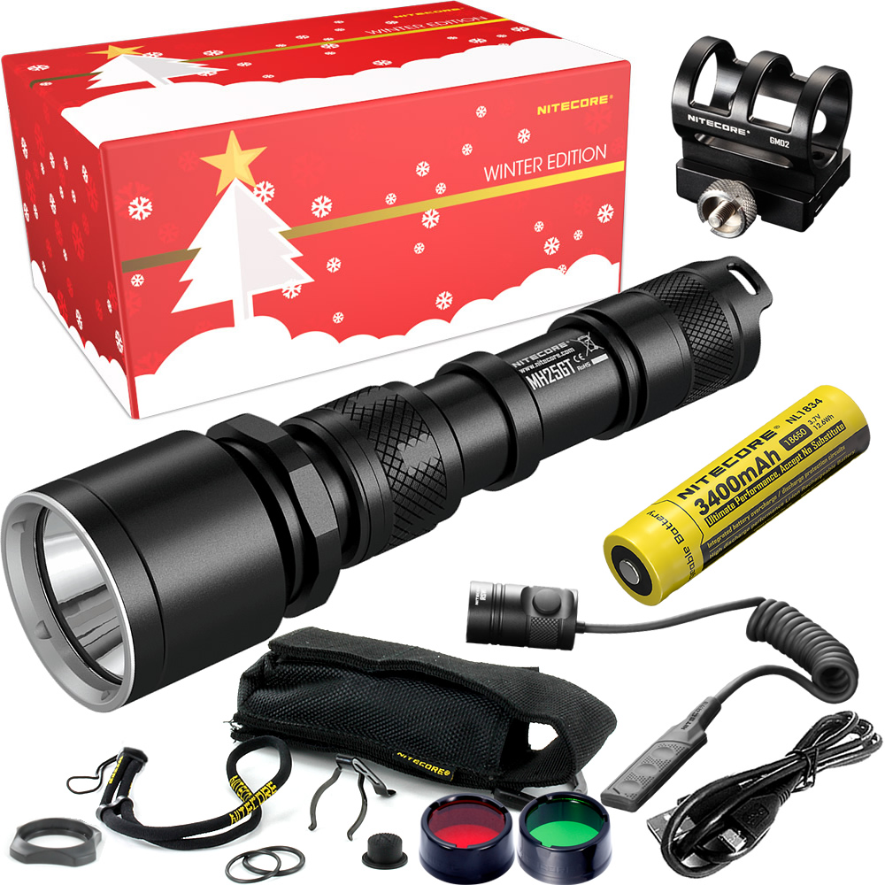 NITECORE MH25GT Hunting Holiday Gift Set 1000 Lumen USB Rechargeable Flashlight for Outdoor Search Portable Torchs Free Shipping 2017 nitecore riding holiday gift set mh12 1000lms usb rechargeable flashlight for outdoor bicycle portable torchs free shipping