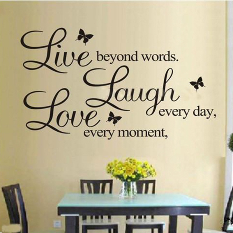 Live Every Moment Laugh Every Day Love Beyond Words Life Vinyl Wall Stickers Quotes for Home Wall Sticker Decor
