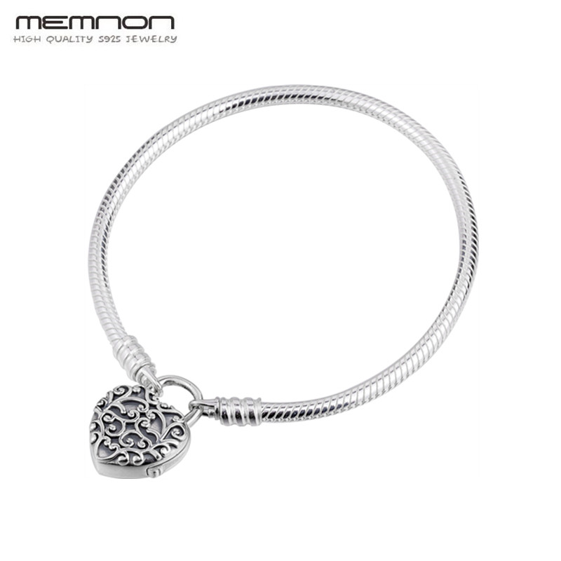 Memnon 925 sterling silver Moments Smooth Padlock Bracelets Regal Heart clip fit charms DIY bracelet jewelry
