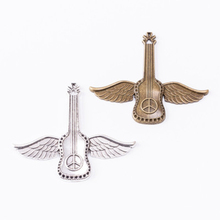 10pcs DIY Jewelry Findings Antique Silver/Bronze Guitar with Angel Feather Wings Charms Pendants for Necklace Bracelet 63x55mm