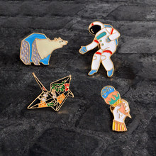 Cartoon Enamel Paper crane Polar bear Astronaut Ice cream Pins Button Animal Brooch Bag Jacket Coat Accessories Pin Badge Gift(China)
