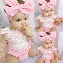 Комбинезоны для новорожденных девочек; боди цветочное кружево; комбинезон; повязка на голову; летний пляжный костюм