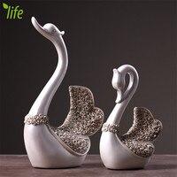 Wedding Decoration Luxury Love Swan Figurines Ornament Creative Hom Decor Birthday Gift 2 Pcs/set Free Shipping