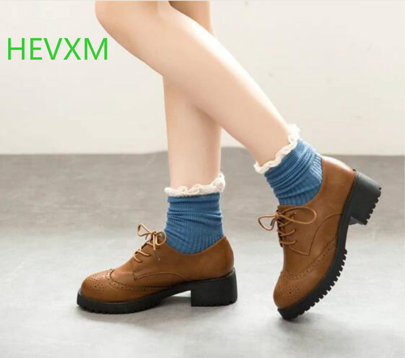 HEVXM Fall 2015 new women 's shoes, the British wind retro small leather shoes with low - heeled deep with thick shoes inc new beige women s size small s faux leather knit motorcycle jacket $99
