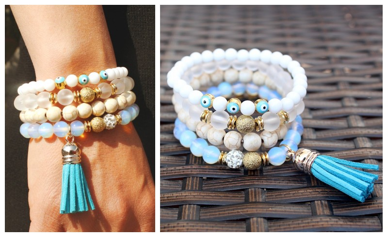 2016 new white stone beads multi layer bracelet bangles vintage jewelry boho style tassel bangles women for party jewlery ...