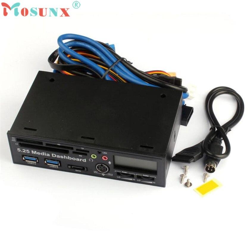 Adroit 1 PC Noir 5.25 Pouce USB 3.0 Haute Vitesse Médias Tableau de Bord Avant Panneau PC Multi Lecteur de Carte JAN5 baisse gratuite